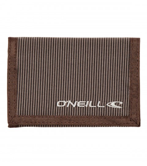 Entertainment O'Neill 100% cotton tri-fold wallet with contrast binding; zipper mesh pocket; custom velcro debossed logo; tonal embroidery logo on outside; and interior printed logo. - $16.00