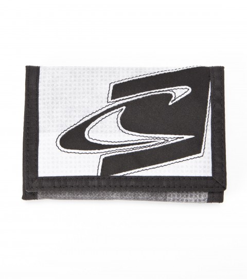 Entertainment O'Neill 100% cotton tri-fold wallet with contrast binding; zipper mesh pocket; custom velcro debossed logo; tonal embroidery logo on outside; and interior printed logo. - $18.00