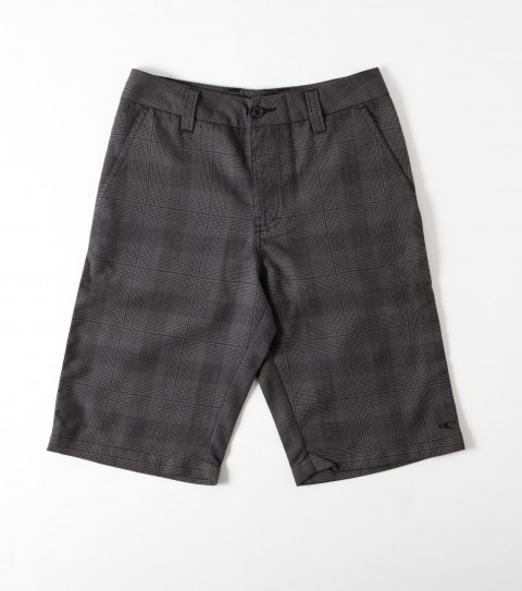 Surf O'Neill boys plaid walkshort with heavy enzyme/silicone wash; standard fit and logo embroideries. - $30.99