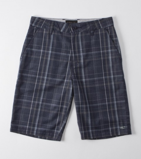 Surf O'Neill Boys Triumph Heather Boardshorts.  65% Polyester / 35% Viscose.  Yarn dye plaid walkshort; heavy enzyme / silicone wash; standard fit; contrast interior fabrics; logo embroideries. - $27.99