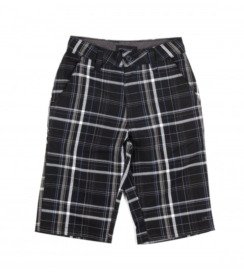 Surf O'Neill Boys Triumph Shorts.  65% Polyester / 35% Viscose.  Plaid walkshort with light enzyme / silicone softener wash. Standard fit; contrast interior fabrics; and logo embroideries. - $27.99