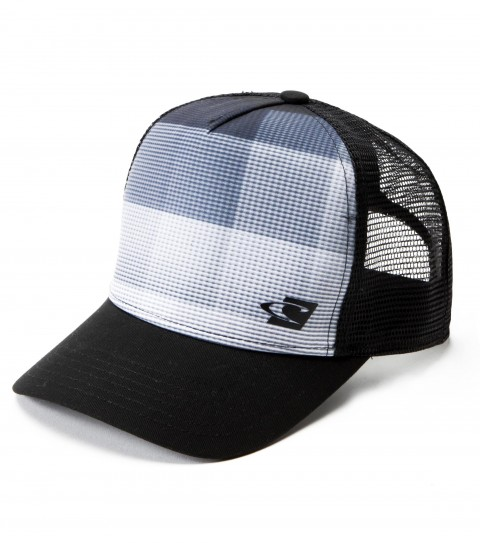 Surf O'Neill boys microfiber/mesh 5 panel deep fit trucker hat with allover front panel screenprint with welded logo; back woven label; snap back closure; deep fit and slight curved visor. - $18.00