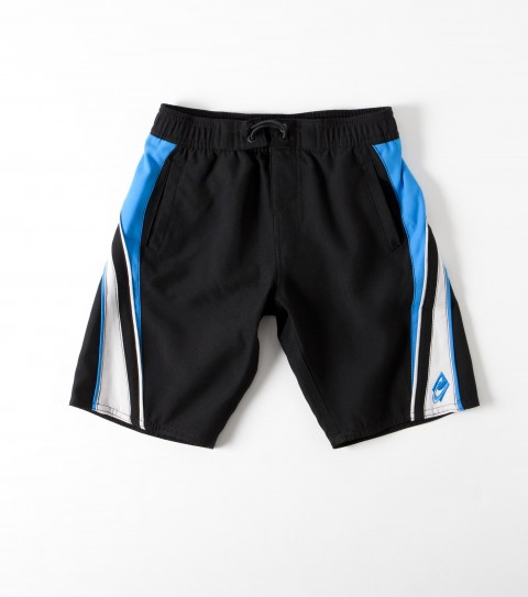 Surf O'Neill Kids Grinder Volley Boardshorts.  Ultrasuede.  18'' Outseam features boardshort with side contrast panels; elastic waistband with internal drawcord; comfort fly closure; side welt pockets; apliqued; embroidered and screened logos. - $23.99