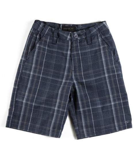 Surf O'Neill Kids Triumph Heather Shorts.  65% Polyester / 35% Viscose.  Yarn dye plaid walkshort; heavy enzyme / silicone wash; standard fit; contrast interior fabrics; logo embroideries . - $25.99