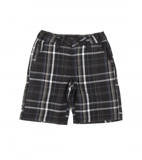 Surf O'Neill Kids Triumph Shorts.  65% Polyester / 35% Viscose.  Yarn dye plaid walkshort; heavy enzyme / silicone wash; standard fit; contrast fabric inner waistband; welt back pockets; logo embroideries. - $25.99