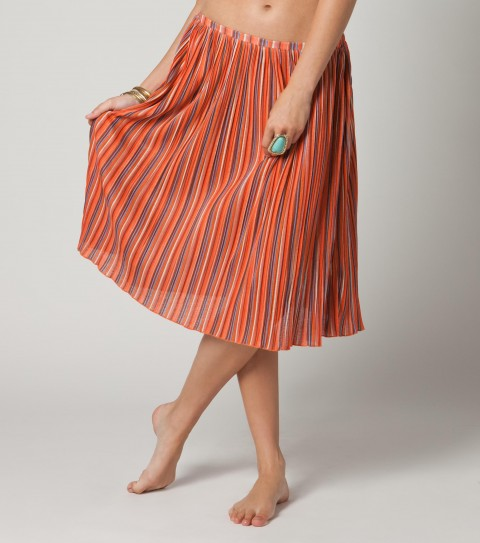 Surf O'Neill How Bizarre Skirt.  100% Polyester knit printed and pleated.  Encased elastic at waistband; merrowed hem. - $36.99