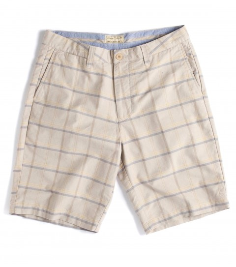 Surf Jack O'Neill Peyton Shorts: 100% cotton oxford plaid standard fit chino walkshort; with stone wash and silicone softener.  Contrast interior waistband and pocket bags; features button back pockets; hidden coin pocket; neoprene accents; Jack O'Neill trims and embroideries. - $50.99