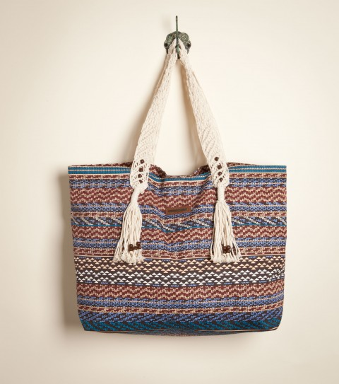 Entertainment O'Neill Lakeside Beach Bag.  Printed cotton canvas purse tote; macrame handles; tassels at strap end; wood beads; metal badge. - $26.99
