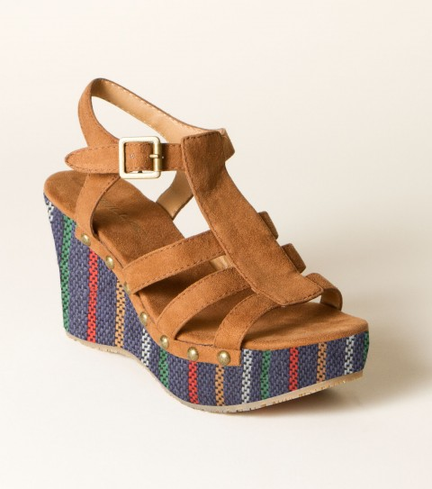 Entertainment O'Neill Sequoia Wedge Sandals.  Wrapped fabric wedges; faux suede upper; rivet detail; buckle closure; faux suede sock; custom rubber outsole. - $44.99