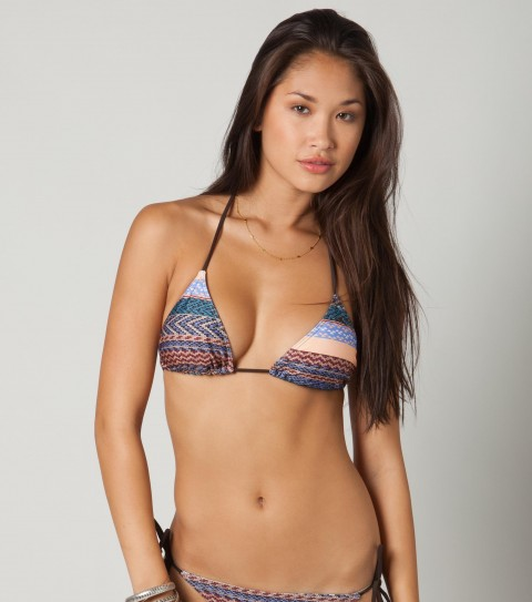 Surf O'Neill Horizon Triangle Bikini Top.  92% Poly / 8% Elastane tricot.  Multi geo stripe slide triangle top; solid ties; removable bra cups; ties at back of neck and back.*Due to the pattern and print of this item; pattern placement may vary - $11.99