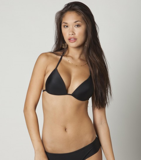 Surf O'Neill Solid Push Up Bikini Top.  80% Nylon / 20% Elastane tricot.  Solid push up fixed triangle; molded bra cups; ties and back of neck and back. - $9.99