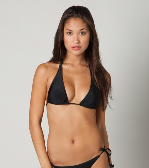 Surf O'Neill Solid Halter Bikini Top.  80% Nylon / 20% Elastane tricot.  Solid slide halter top; removable bra cups; ties at back of neck and back. - $11.99
