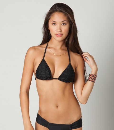 Surf O'Neill Solid Cinched Tri Bikini Top.  80% Nylon / 20% Elastane tricot; solid cinched slide triangle top; removable bra cups; ties at back of neck and back. - $9.99