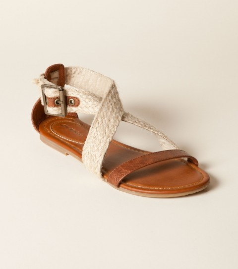 Entertainment O'Neill Vista Sandals.  Reptile textured faux leather upper mixed with braided espadrille straps; buckle closure; faux leather sock with pop stitch on heel pad; sandal bottom. - $39.50