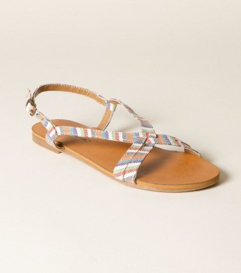 Surf O'Neill Mindi Sandal.  Printed fabric upper; buckle closure; faux leather sock; sandal bottom. - $19.99
