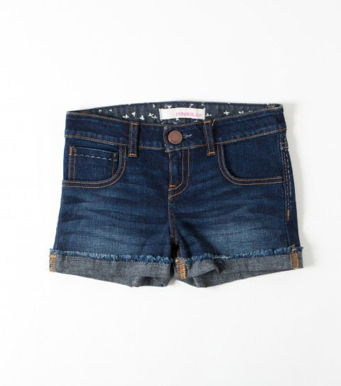 Surf O'Neill Girls Susie Shorts.  98% Cotton / 2% Elastin.  2'' Inseam.  5 Pocket denim short with interior printed waistband; raw edge cuff and back logo embroidery. - $16.99