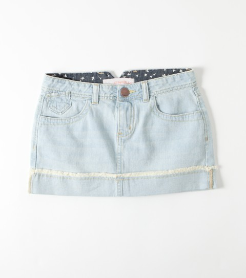 Surf O'Neill Girls Wendy Skirt.  98% Cotton / 2% Elastin.  2'' Inseam.  5 pocket denim skirt with faded wash; light destruction; pieced back pockets; notched back waistband and raw edge cuffed hem. - $18.99