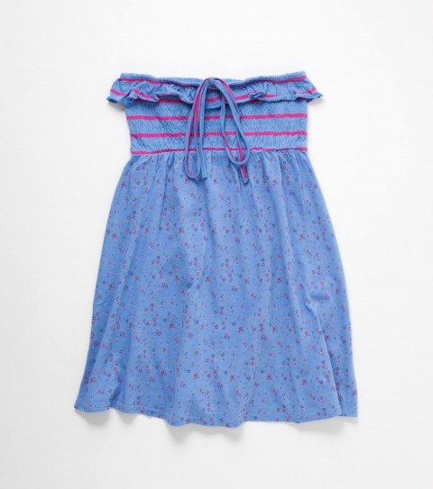 Surf O'Neill Girls Kirsten Dress.  100% Cotton jersey.  Knit printed dress; smocked bodice; ruffled neckline; logo embroidery. - $39.50