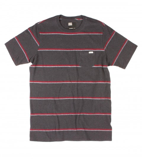 Surf O'Neill Singler Shirt.  100% Cotton jersey.   Yarn dye stripe crew with garment wash. Standard fit with chest pocket and logo labels. - $20.99