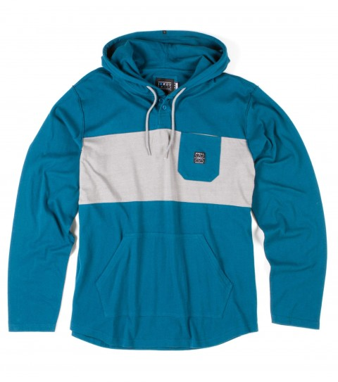 Surf O'Neill Blacktop Blur Hooded Shirt.  100% Cotton jersey.  Pieced hooded pullover with garment wash. Standard fit; kangaroo pocket; chest pocket; button placket; logo labels. - $54.50