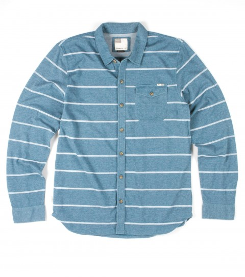 Surf O'Neill Hobart Shirt.  100% Cotton jersey.  Novelty jersey button-up over shirt styling with garment wash. Standard fit; printed stripes; chest pocket; logo wood buttons; logo labels. - $52.00