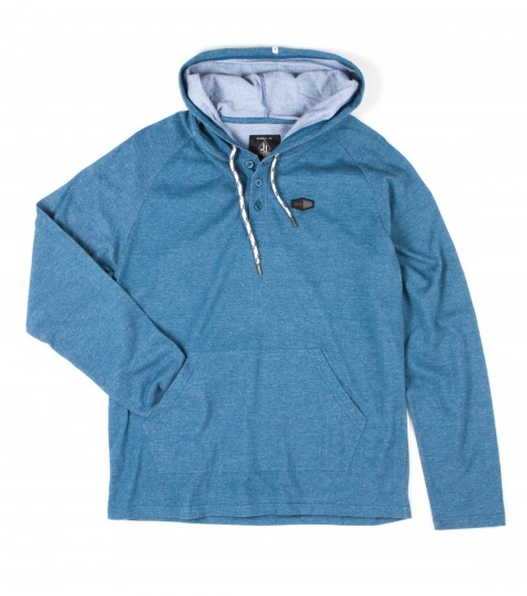 Surf O'Neill Mens 100% Cotton  heather hooded pullover with garment wash. Standard fit; kangaroo pocket; button placket and logo labels. - $46.99