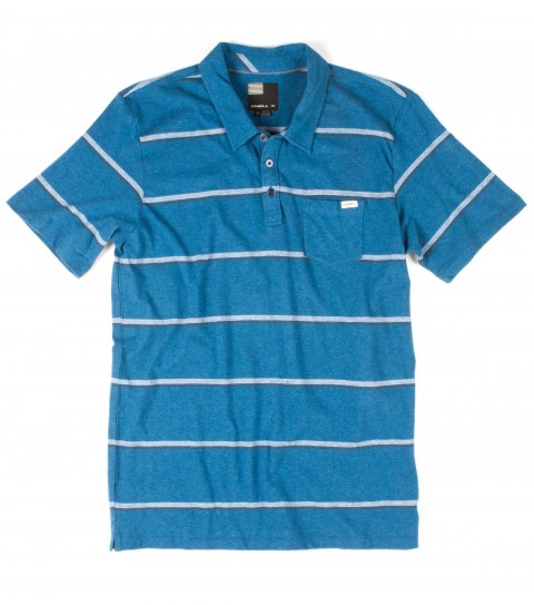 Surf O'Neill Singler Polo Shirt.  100% Cotton jersey.  Yarn dye stripe polo with garment wash. Standard fit with chest pocket and logo labels. - $35.99