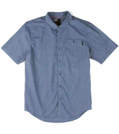 Surf O'Neill Meyer Shirt.  65% Polyester / 35% Cotton heather solid woven with silicone wash. Standard fit with button down collar; logo embroideries and labels; and contrast neck tape. - $27.99
