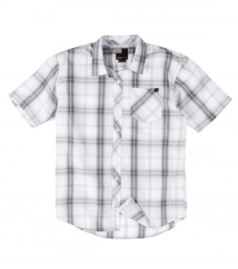 Surf O'Neill Bridgeport Polynosic Shirt.  Polynosic blend yarn dye plaid short sleeve woven with sand wash.Logo embroideries and labels. - $46.99