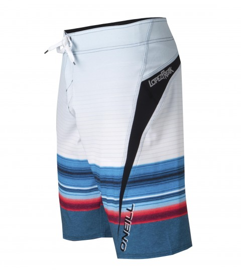 "Surf O'Neill Lopez Freak Boardshorts.  Psychostretch.  22"" outseam boardshort features techno butter neoprene panels; superfly closure; locking drawcord; side zipper pocket; embroidered; appliqued and screened logos.  Cory Lopez Signature Series.Psychostretch is used on most of our Superfreak styles.  The satin weave on the inside is made for ultra comfort; while the material has a decent amount of stretch with a little heavier weight.  Made with a 140% vertical stretch and 130% horizontal stretch and has a durable water resistant coating for a faster dry time.  Techno butter is neoprene used in the panels of our Superfreak boardies.  A new type of neoprene developed for wetsuits that is lightweight; fast-drying; and stretchy. - $38.99"