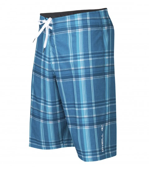 "Surf O'Neill Epic Plaid Boardshorts.  Epicstretch.  22"" outseam boardshort features superfly closure; single welt side pocket; embroidery and screened logos.Epicstretch is our most popular stretch fabric.  Not too stretchy; but has enough stretch to be a great performance fabric.  Our most versatile fabric when it comes to surfing; comfort; and just hanging out.  Made with a 130% vertical stretch and 120% horizontal stretch and has a durable water resistant coating for a faster dry time. - $29.99"