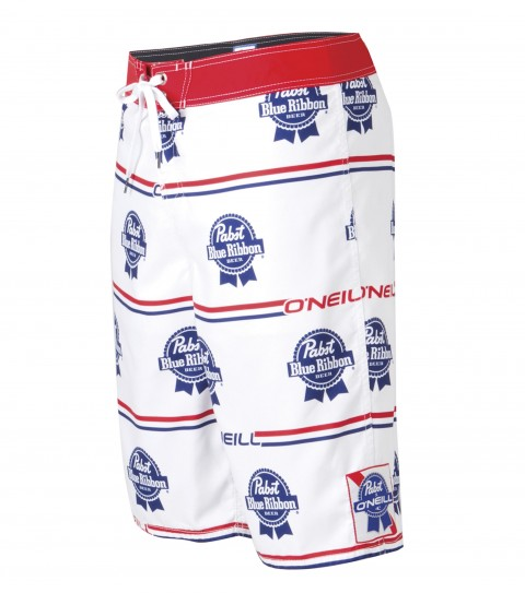 Surf O'Neill PBR Logo Boardshorts.  Ultrasuede.  22'' Outseam.  Limited edition O'Neill and Pabst Blue Ribbon collaboration.  Comfort fly closure; mesh liner; back pouch pocket; woven patch; embroidery; and screened logos. - $29.99