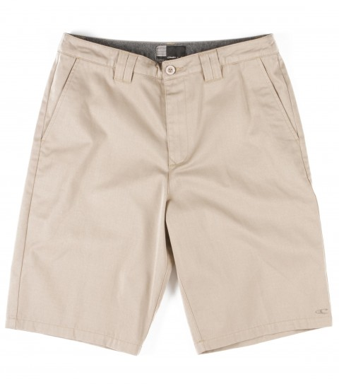 Surf O'Neill Contact Shorts.  65% Polyester / 35% Cotton worker twill chino. Standard fit, hidden stash pocket, contrast interior fabrics, logo embroidery and labels. - $15.99