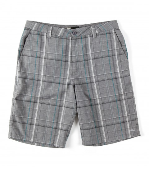 Surf O'Neill Triumph Shorts.  70% Polyester / 30% Viscose.  Yarn dye plaid walkshort with heavy enzyme / silicone softener wash. Standard fit; contrast interior fabrics; and logo embroideries. - $26.99