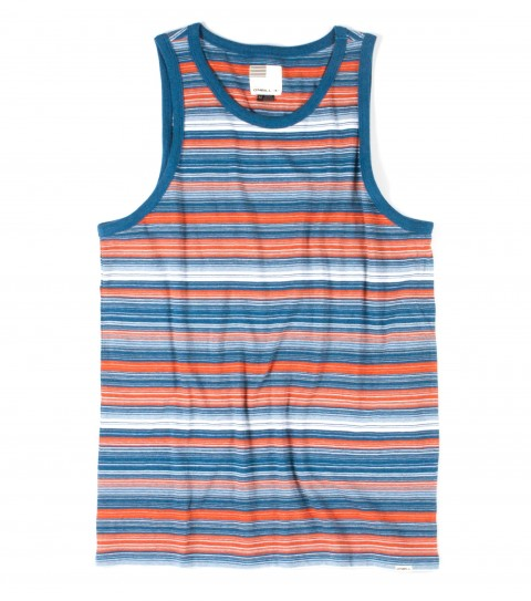 Surf O'Neill Montezuma's Revenge Tank.  100% Cotton jersey. Yarn dye stripe tank with garmentwash. Standard fit with logo labels. - $17.99