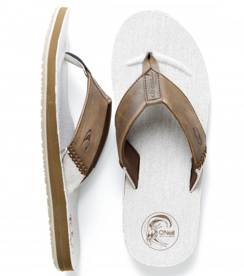 Entertainment O'Neill Riptide Sandals.  Full grain leather upper with cotton canvas piecing and heavy cross stitch, debossed logos, contoured canvas lined footbed, anatomically constructed arch support, rubber outsole. - $46.00