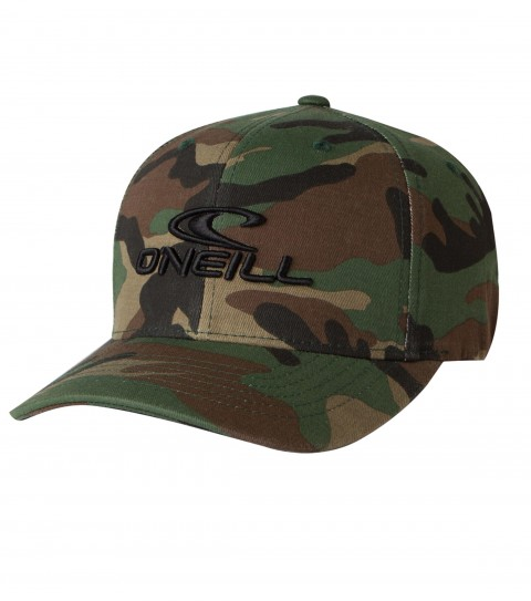 Surf O'Neill Staple Hat.  X-fit flexfit cap with various novelty fabrics, front puff embroidery, rear direct satin stitch embroidery. - $13.99