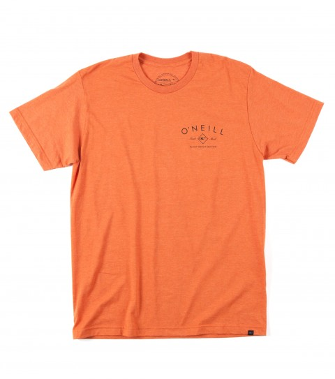 Surf O'Neill Navigate Tee.  50% Cotton / 50% Poly.  30 singles modern fit heather tee with softhand screeenprint and attached hem label. - $22.00