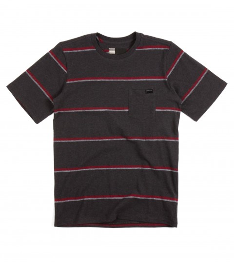 Surf O'Neill Boys Singler Shirt.  100% Cotton jersey.  Yarn dye stripe crew with garment wash. Standard fit with chest pocket and logo labels. - $29.50