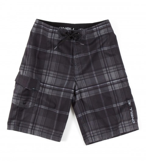 Surf O'Neill Boys Santa Cruz Plaid Boardshorts.  Ultrasuede; boardshort features comfort fly closure; side cargo pocket; embroidered and screened logos. - $22.99