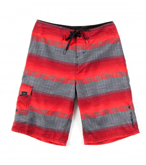 Surf O'Neill Boys Santa Cruz Stripe Boardshorts.  Ultrasuede; boardshort features comfort fly closure; side cargopocket; embroidered and screened logos. - $19.99