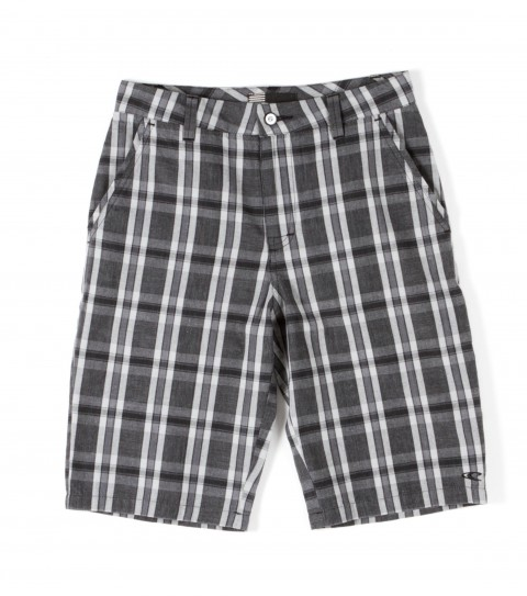 Surf O'Neill Boys Vernon Shorts. 100% Cotton. Yarn dye plaid walkshort with silicone wash. Standard fit with novelty buttons; hidden cell pocket; logo labels and embroideries and contrast interior waistband and binding. - $30.99