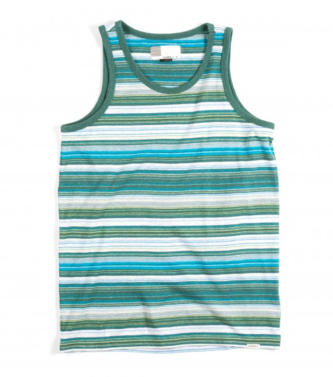 Surf O'Neill Boys Montezuma's Revenge Tank. 100% Cotton jersey. Yarn dye stripe tank with garment wash. Standard fit with logo labels. - $26.00