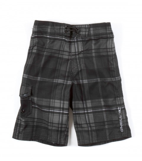 Surf O'Neill Kids Santa Cruz Plaid Boardshorts.  Ultrasuede boardshort features comfort fly closure; side cargo pocket; embroidered and screened logos. - $28.00
