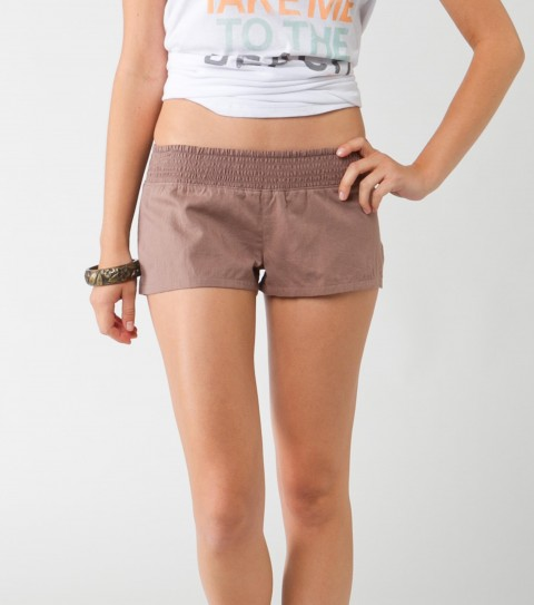 "Surf O'Neill Newport Shorts.  100% Textured cotton; solid and yarn-dye; 2"" inseam; smocked waistband; logo embroidery. - $22.99"