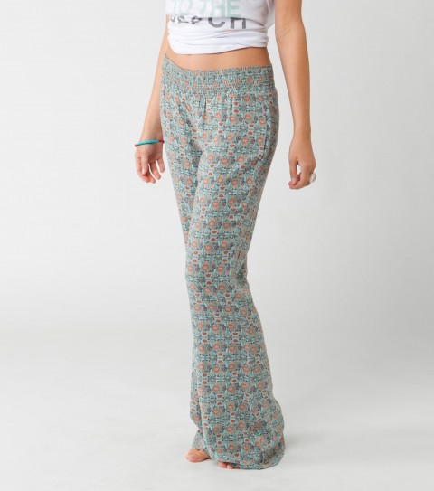 "Surf O'Neill Angelic Pants.  100% Viscose woven.  33"" inseam; flair fit beach pant with smocked waistband and metal logo badge. - $46.00"
