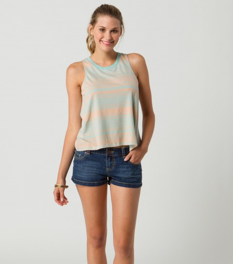 Surf O'Neill Free Spirit Tank.  100% Cotton jersey.   Yarn dyed and printed; deep cut armhole; metal logo badge. - $20.99