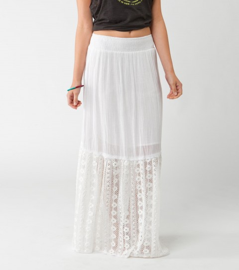 Surf O'Neill Band Name Skirt.  100% Cotton gauze / 100% Cotton crochet.  Mini lining; fully smocked front & back waistband; crochet detailing; metal logo badge. - $59.50