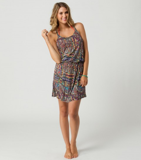 Surf O'Neill Talia Dress.  100% Cotton jersey printed dress with elastic waist and adjustable straps. - $19.99