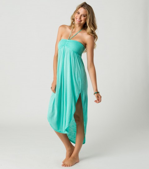 Surf O'Neill Ariel Dress.  100% Viscose slub jersey dress with smocked bust and slits up the sides. - $27.99